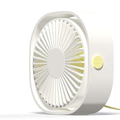 Fan Mini USB Desktop on Stand 360 Degree Rotation Wind 3 Speeds (Dark Blue) Sunshine20 (Color : White)