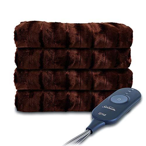 Sunbeam Heated Throw Blanket | Faux Fur, 3 Heat Settings, Walnut