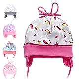 Baby Sweets Newborn Baby Mütze für Mädchen in Grau-Rosa als Erstlingsmütze im Einhorn-Cupcake-Motiv/Babymütze aus Baumwolle mit Knoten für Neugeborene & Kleinkinder in der Größe: Newborn (56)