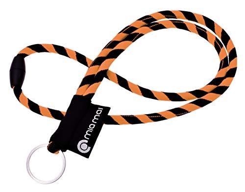 mia Mai Tubular Lanyard (45 cm) Schlüsselband mit Sicherheitsverschluss, Schlüsselring Schlüsselanhänger (Orange/Schwarz)