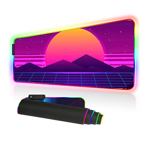 Imegny RGB Mouse Pad, Led Gaming Mouse Pad Oversized Glowing Mat Colorful Soft Mat for Mice Computer Keyboard with Non-Slip Rubber Base Water-Resistant (90x40 rgtaiyang001)