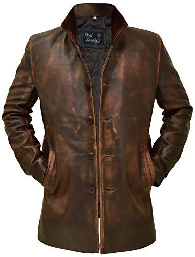 Leather Coats for Men - Black and Brown Leather Jacket Men (Super Brown leather Coat, Large)