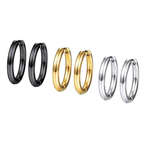 3 Piezas de Conjunto de Pendientes de Aro para Mujer 16mm Dorado Negro Plateado