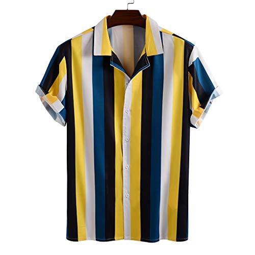 Xniral Herren Hawaii Hemd Blumen Beiläufig Aloha Freizeit Streifen Shirt Button Down Umlegekragen Graphic Shirt Sommer T-Shirt(b-Gelb,XL)