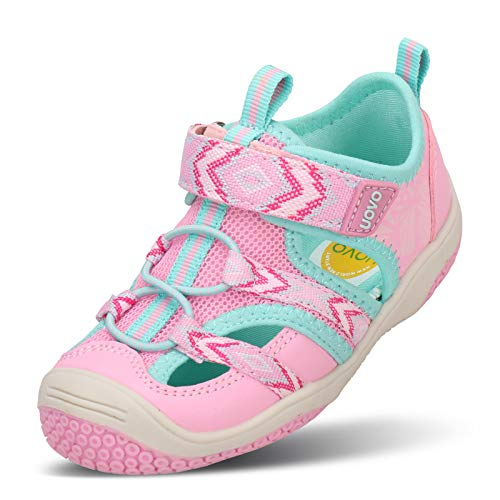 UOVO Kids Girls Toddler Sandals Little Girls Closed Toe Athletic Sport Sandals Outdoor Summer Sandals (9 M US Toddler,Pink)