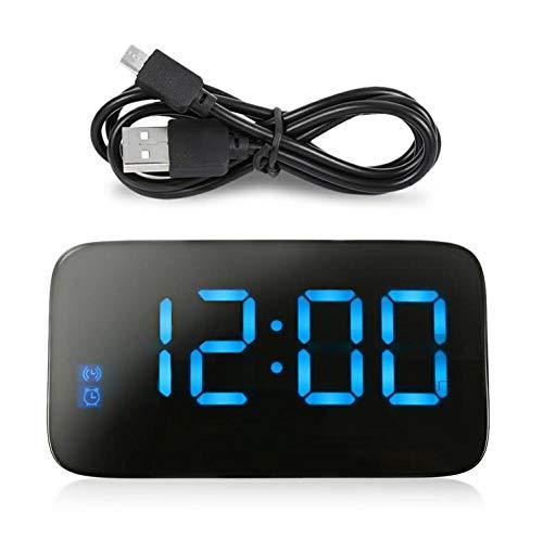 FPRW LED-wekker, grote LED tafelklok voor Despertado, achtergrondverlichting elektronische snooze met spraakbediening, met USB-kabel, blauw