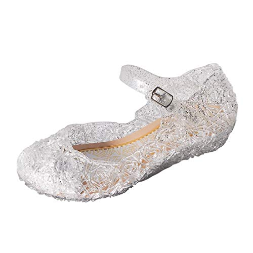 ON Princess Girls Queen Dress Up Cosplay Jelly Shoes for Kids Toddler Dance Party Sandals Mary Janes White