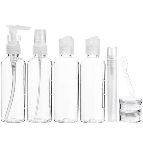 FiveSeasonStuff 8 Pezzi Vacanza Toilette 100ml Bottiglia Kit per Viaggio in Aereo, Conforme alle Aeroporto Limitazioni di Sicurezza (Tutte Transparente)