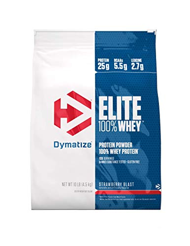 Dymatize Elite 100% Whey Protein Powder, 25g Protein, 5.5g BCAAs & 2.7g L-Leucine, Quick Absorbing & Fast Digesting for Optimal Muscle Recovery, Gourmet Strawberry Blast, 10 Pound