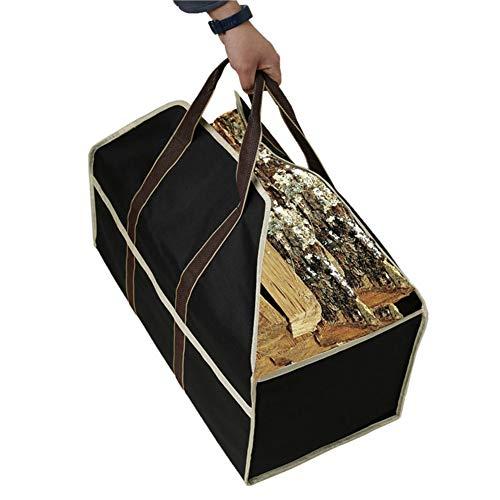 SqSYqz Extra Large Waxed Canvas Brennholz Halter Kamin Log Carrier-Tasche Mit Hand Und Schultergurt, Gepolsterter Handgriffe, Seitentasche Für Outdoor Carrying