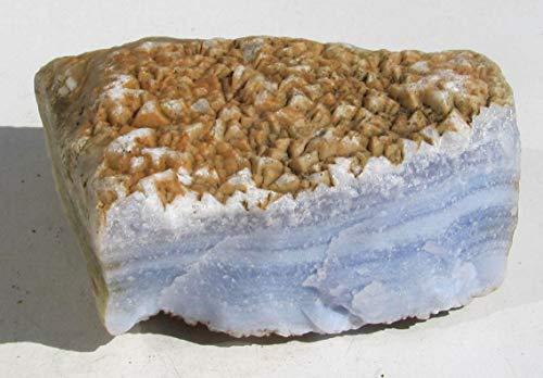 Edel-Depot Streifenchalcedon, Blauer Chalcedon, Rohstein aus Namibia, 298 g.
