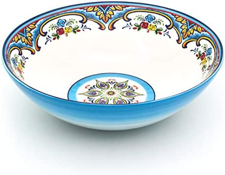 EuroCeramica Zanzibar Serving Bowl and Platters 12 Inch Spanish Floral Design Multicolor product image