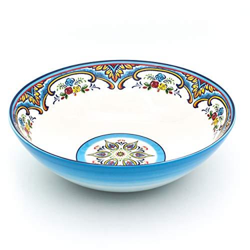 EuroCeramica Zanzibar Serving Bowl and Platters, 12-Inch, Spanish Floral Design, Multicolor