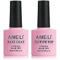 Aimeili Gel Nail Polish No Wipe Top and Base Coat Set 2 x 10ml