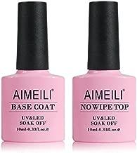 AIMEILI Gel Nail Polish No Wipe Top and Base Coat Set Soak Off UV LED Gel Nail Lacquer - 2 x 10ml