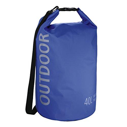 Hama wasserdichter Packsack, 40 l, Dry Bag mit Rolltop Verschluss, Schultergurt, (wasserdichter Seesack aus Tarpaulin, wasserfeste Outdoor Tasche für Rafting, Kajak, Camping) blau