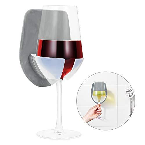 Silikon Weinglashalter für Bad & Dusche, Weinzubehör für Wein & Bier, Saugnapf Getränkehalter mit starker Absaugung, Der Badewanne Weinglashalter ist Entspannungsdusche Gadgets! (Grau)