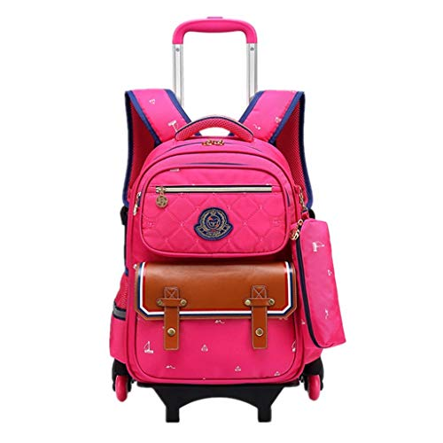 Youth Backpack Middle School Student Bag Adjustable Folding Lever Student 16 Inch Computer Bag 6 Rounds Climbing Stairs -excellent Gift -Girls Boy pink-OneSize