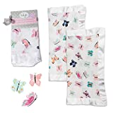 lulujo Baby Security Lovie Blankets| Unisex Softest Breathable Cotton Muslin Security Blanket with Silky Satin Trim| Neutral Comforting Blanket for Girls & Boys | 16in by 16 in| Butterfly