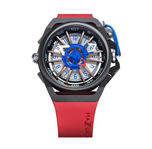 Mazzucato velg mannen omkeerbare automatische en chronograaf horloge met FKM rubberen riem rood GT 07-RD7685