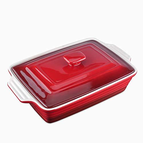LOVECASA Backformen Steinzeug, 1er Lasagnepfannen mit Deckel, rechteckige Lasagneform Auflaufförmchen, Pastetenform 39 x 23,5 x 8,5 cm, 2700 ml