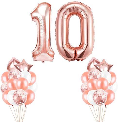 Youngneer Luftballon 10. Geburtstag Rosegold Set für Mädchen Geburtstagsdeko 10 Jahr Deko 10 Geburtstags Dekoration Riesen Zahl 10 Happy Birthday Folienballon zum Mädchen Geburtstag 10 Junge
