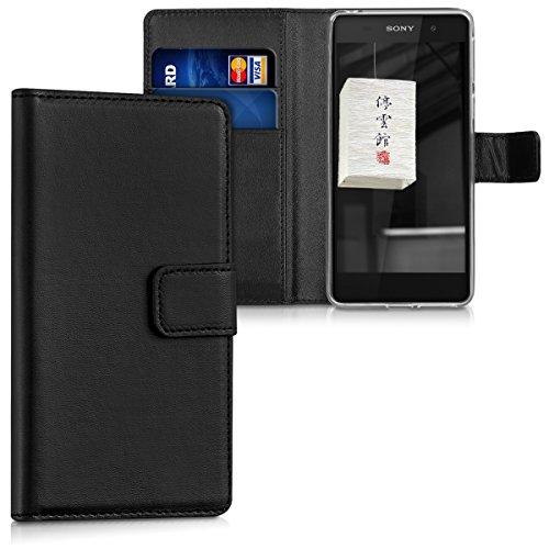 kwmobile Sony Xperia E5 Hülle - Kunstleder Wallet Case für Sony Xperia E5 mit Kartenfächern & Stand - Schwarz