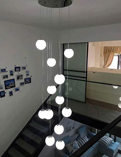 Mlshlf lamp 12 glazen bolletjes kroonluchter trap duplex gebouw multi lampen hanglamp Villa hol woonkamer kleine woning loft roterende lange kroonluchter 50x220 cm