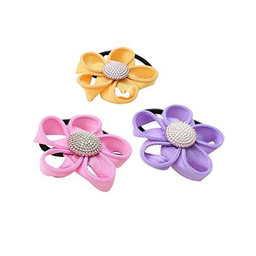 Ensemble de 12 élégant motif floral cheveux Elastique Ponytail bandes Détenteurs de cheveux