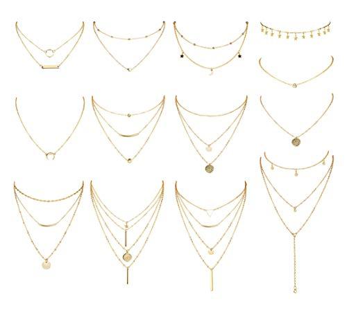 CASIECA 13 Pcs Geschichteten Choker Halskette Einstellbar Lang Anhänger Halskette Klein Sterne Mond Pailletten Choker Mehrschichtige Kette Halskette Set für Frauen Mädchen Böhmischer Schmuck