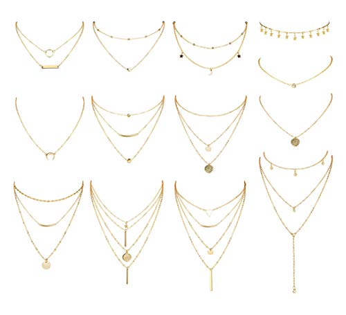 CASSIECA 13Pcs Layered Choker Necklace Adjustable Long Pendant Necklace Charm Tiered Star Moon Sequins Coin Choker Multilayer Chain Necklace Set for Women Girls Boho Jewelry Silver Tone Gold Tone