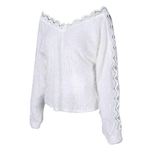 GUOYANGPAI Jersey de Punto para Mujer, Jersey Hueco con Cuello en V, suéter Blanco Suelto para Mujer de Moda,S