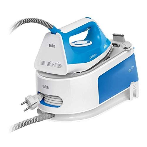 Braun Carestyle 1 IS1012BL, Ferro generatore di Vapore, 2400Watt, Capacità 1,5L, 5,5 Bar, Getto di Vapore 340g/min, Sistema Anticalcare con Segnale Acustico, Bianco/Blu