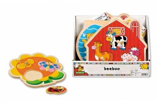 Puzzle en bois insectes 3 pieces - puzzle a encastrer - puzzle avec boutons