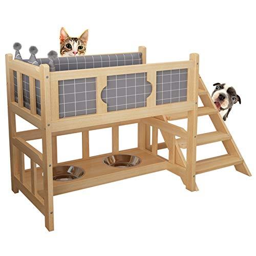 ZXXL Cama de Perro Cama de Madera para Perros con Colchón/Escalones, Sofá Cuna Portátil Elevado para Mascotas para Cachorros Medianos Pequeños, Uso del Dormitorio de la Sala de Estar Interior