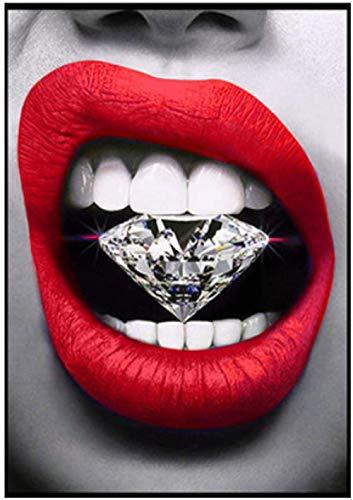 liujiu Belleza sexy Personalidad Labio rojo con carteles de lienzo de diamantes e impresiones Lienzo impreso en la pared para la decoración del hogar Imagen -20x28 pulgadas Sin marco 1 PCS