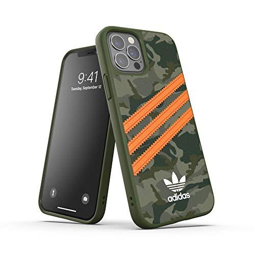adidas Compatible avec La Coque iPhone 12 Mini Pro Max 6.7, Livret étuis Testés Contre Les Chutes, Bords Surélevés Antichoc, Original Housse De Protection Moulée Basique, Motif Camouflage/Orange
