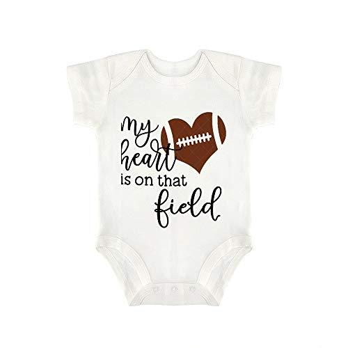"Promini Mono de bebé lindo con texto en inglés ""My Heart is On That Field"" - Body de fútbol para bebé"