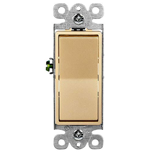 ENERLITES Elite Series Decorator Rocker Light Switch, 15A 120V/277V, Single Pole, 3 Wire, Grounding Screw, Residential Grade, UL Listed, 91150-GD, Gold Color