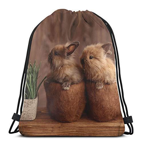 Perfetto per la casa Conigli Due Conigli Un Coppia Coniglio Coniglietto Bambini Zainetto Zaino Borsa Leggero Palestra Viaggi Yoga Casual Snackpack Borsa a Tracolla per Escursionismo Nuoto Spiaggia