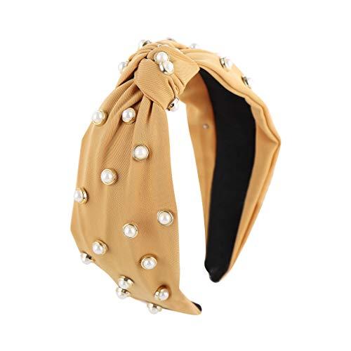 Committede Vintage Perlen Stirnband Haarband Headband Kopf Warp aus Stoff oder Satin mit Bow Knot Koreanisches Haarband für Damen