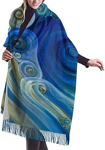 Bufanda en espiral azul Bufandas de cachemira suave para mujer Elegante manta cálida Mantón de invierno