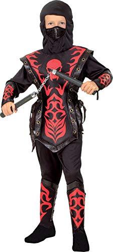 Ciao Skull Ninja Costume Bambino, Nero/Rosso, 7-9 Anni