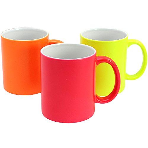 com-four® 3X Kaffeebecher in knalligen Neonfarben, gerade Form, bis zu 325 ml