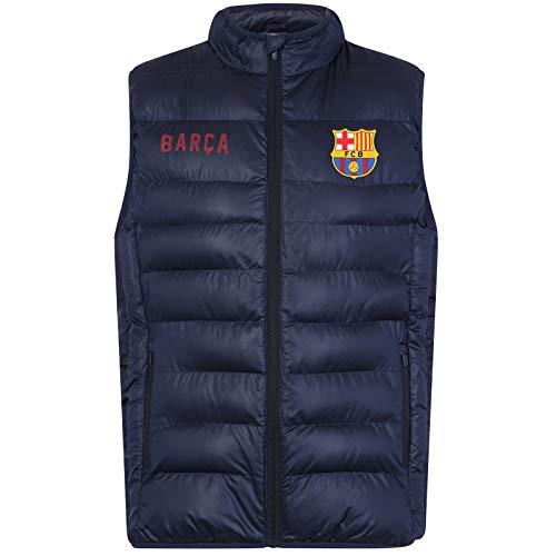 FC Barcelona Officiel - Gilet rembourré sans Manches - thème Football - Homme - Bleu Marine/Fermeture Éclair - XL