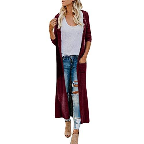 Vrouwen Bohe Lange Gebreid Vest, Dames Lange Mouw Klassieke Effen Kleur Knop Omlaag Voorvak Casual Herfst Winter Bovenkleding