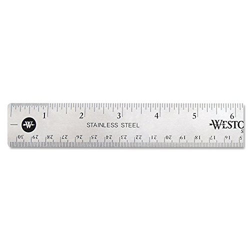 Westcott 10415 Stainless Steel Office Ruler with Non Slip Cork Base, 12-Inch