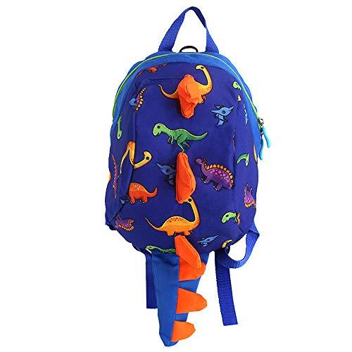Mega 2-6 Jahre alte kleine Kinder Rucksack 3D Dinosaurier Backpack Kinderrucksäcke Babyrucksack mit Sicherheits-Leine Anti-Lost Daypack für Baby Jungen und Mädchen (Blau)