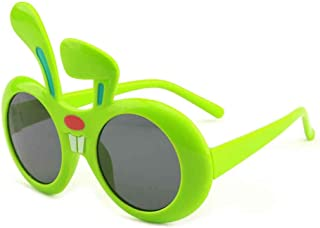 Children's Cartoon White Rabbit Ears Polarized Sunglasses Silicone Material Versatile Sunglasses,Green