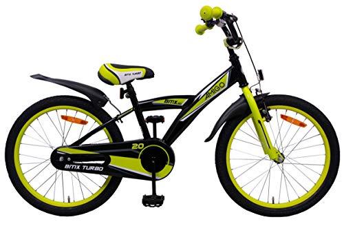 Amigo BMX Turbo - Kinderfahrrad für Jungen - 20 Zoll - mit Handbremse, Rücktritt, Lenkerpolster und fahrradständer - ab 5-8 Jahre - Schwarz